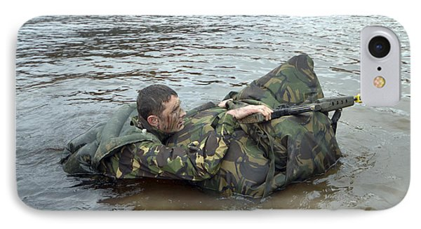 A Soldier Participates In A River IPhone Case by Andrew Chittock