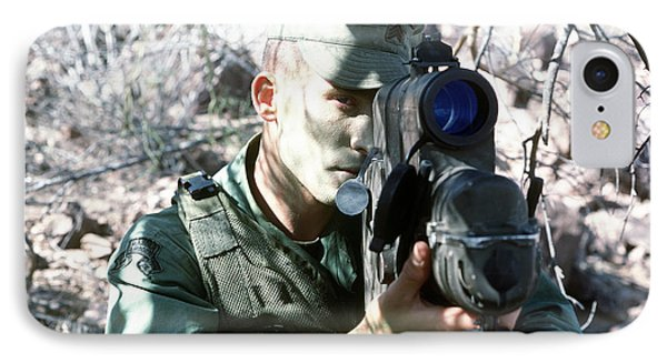 An Army Ranger Sets Up An Anpaq-1 Laser Phone Case by Stocktrek Images