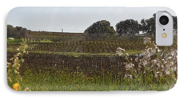 Beautiful California Vineyard Framed With Flowers Phone Case by Brandon Bourdages