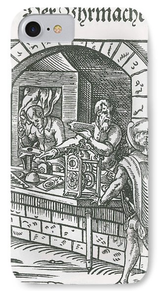 Clockmaker, Medieval Tradesman IPhone Case by Science Source