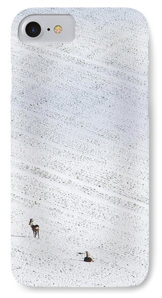 Deer In A Distant Snow Covered Field Phone Case by Adrian Bicker