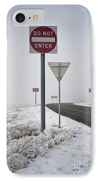 Do Not Enter Signs By Snowy Road IPhone Case by Dave & Les Jacobs