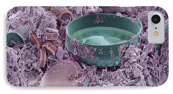 Fossilised Diatoms, Sem Phone Case by Steve Gschmeissner