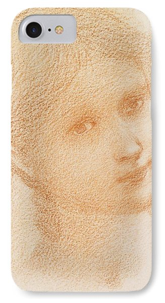 Head Study Of A Girl IPhone Case by Sir Edward Burne-Jones