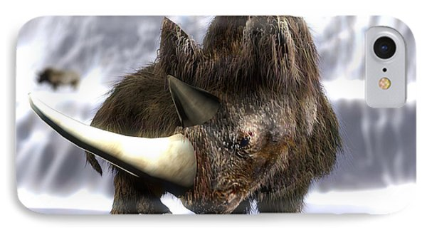 Woolly Rhinoceros Phone Case by Christian Darkin