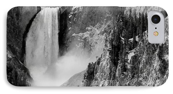 Yellowstone Waterfalls In Black And White IPhone Case by Sebastian Musial