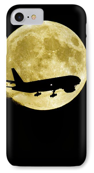 Aeroplane Silhouetted Against A Full Moon Phone Case by David Nunuk