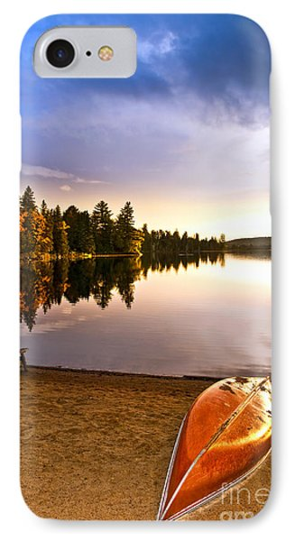 Lake Sunset With Canoe On Beach IPhone Case by Elena Elisseeva