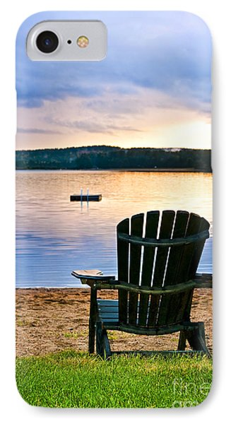 Wooden Chair At Sunset On Beach Phone Case by Elena Elisseeva