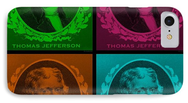 Thomas Jefferson In Quad Colors Phone Case by Rob Hans