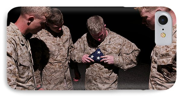U.s. Marines Fold The American Flag Phone Case by Terry Moore