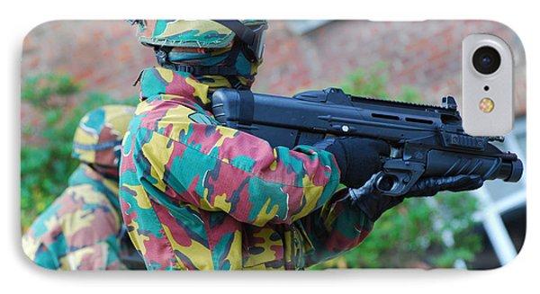 A Belgian Paratrooper  Handling The Fn Phone Case by Luc De Jaeger