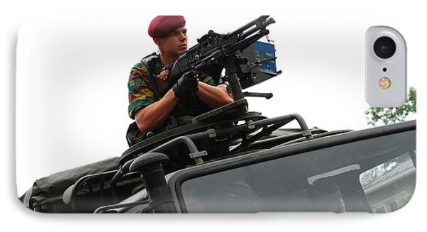 A Belgian Paratrooper Manning A Fn Mag Phone Case by Luc De Jaeger