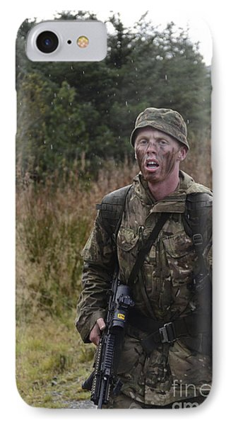 A British Soldier During Exercise IPhone Case by Andrew Chittock