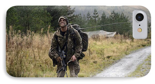 A British Soldier With Radio IPhone Case by Andrew Chittock