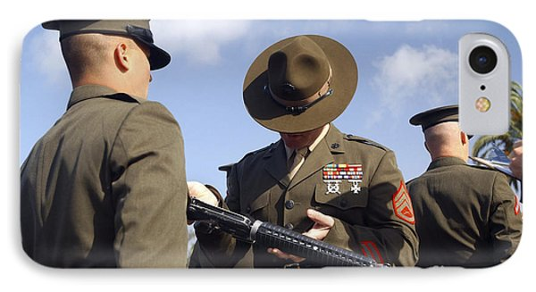 A Senior Drill Instructor Inspects Phone Case by Stocktrek Images