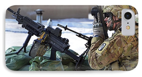 A Soldier Keeps A Close Watch IPhone Case by Stocktrek Images