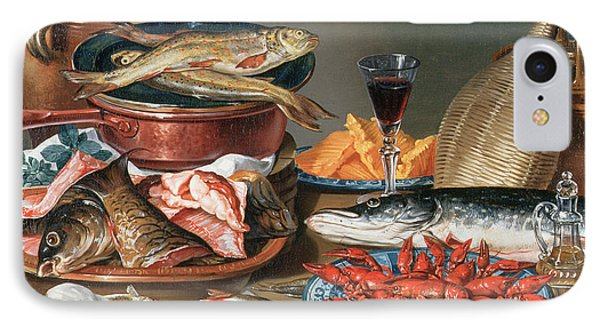 A Still Life Of A Fish Trout And Baby Lobsters IPhone Case by Anton Friedrich Harms