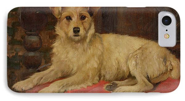 A Terrier On A Settee IPhone Case by Wright Barker