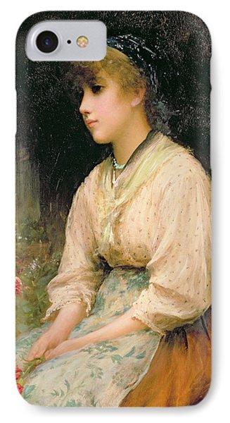 A Venetian Flower Girl Phone Case by Sir Samuel Luke Fildes