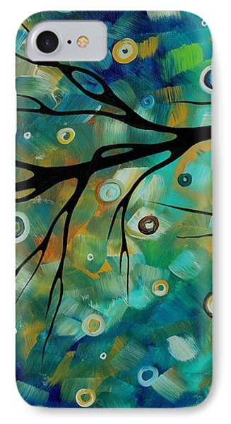 Abstract Art Original Landscape Painting Colorful Circles Morning Blues II By Madart Phone Case by Megan Duncanson