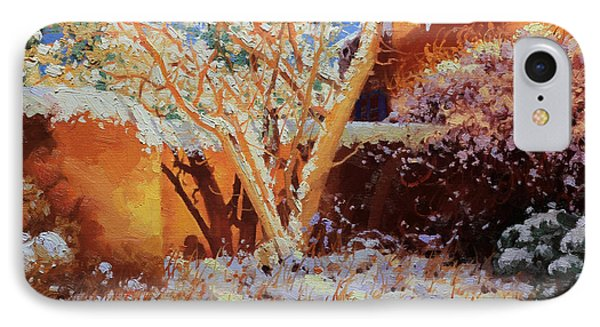 Adobe Wall With Tree In Snow Phone Case by Gary Kim