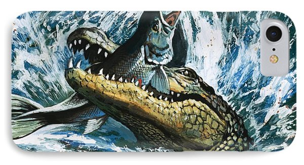 Alligator Eating Fish IPhone 7 Case by English School