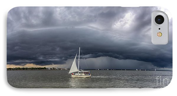Amazing Storm Clouds And Sailboat Charleston Sc Phone Case by Dustin K Ryan