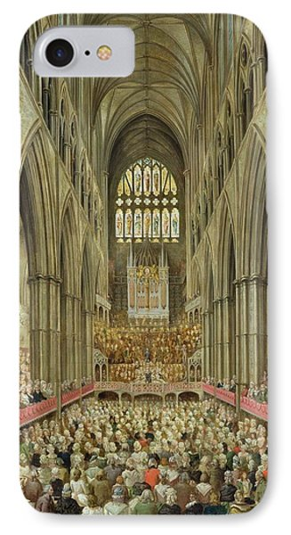 An Interior View Of Westminster Abbey On The Commemoration Of Handel's Centenary IPhone Case by Edward Edwards