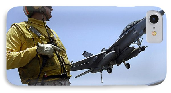 An Officer Observes An Fa-18f Super Phone Case by Stocktrek Images