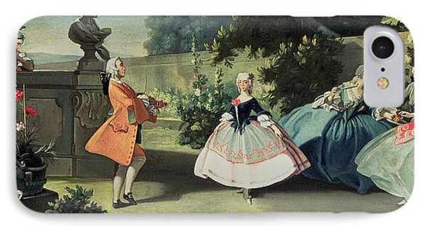 An Ornamental Garden With A Young Girl Dancing To A Fiddle IPhone Case by Filippo Falciatore