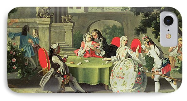 An Ornamental Garden With Elegant Figures Seated Around A Card Table Phone Case by Filippo Falciatore