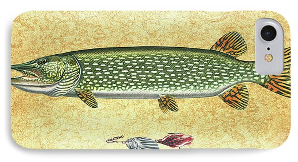 Antique Lure And Pike IPhone Case by JQ Licensing