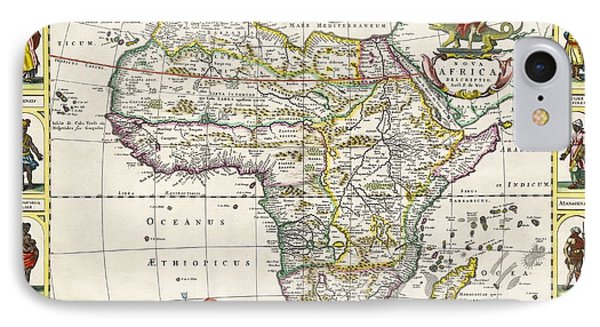 Antique Map Of Africa Phone Case by Dutch School