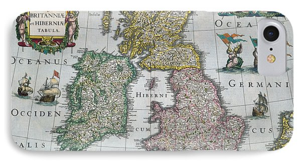 Antique Map Of Britain Phone Case by English School