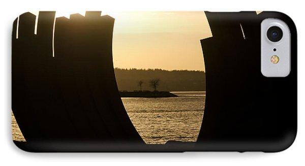 Arcs Sunset Bernar Venet Sculpture Sunset Beach Park Vancouver Bc Canada Phone Case by Andy Smy