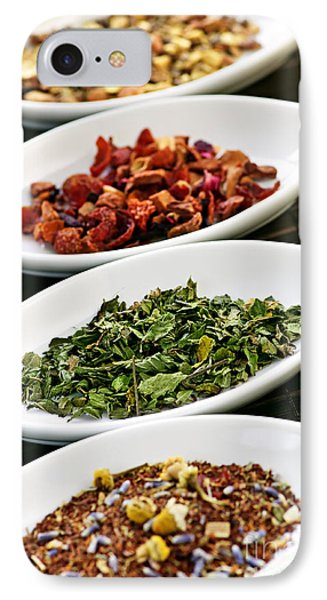 Assorted Herbal Wellness Dry Tea In Bowls IPhone Case by Elena Elisseeva