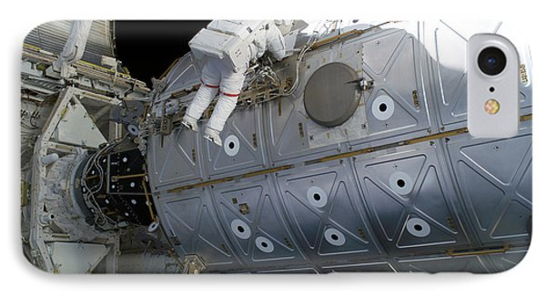 Astronaut Traverses Along The Destiny Phone Case by Stocktrek Images
