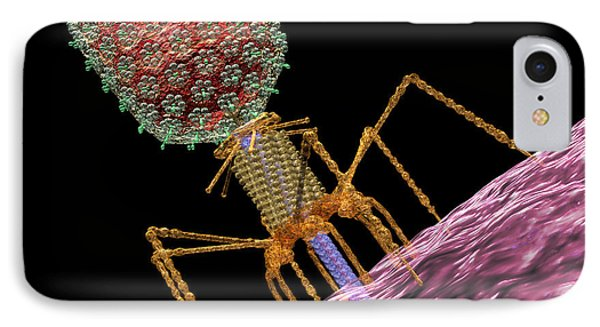 Bacteriophage T4 Injecting Phone Case by Russell Kightley