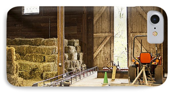 Barn With Hay Bales And Farm Equipment Phone Case by Elena Elisseeva