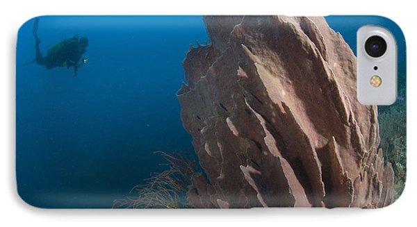 Barrel Sponge And Diver, Papua New Phone Case by Steve Jones