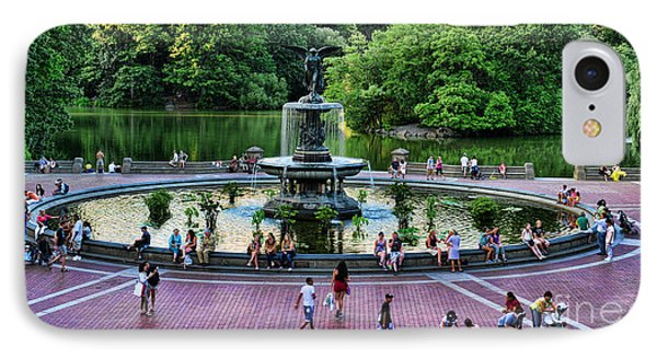 Bethesda Fountain Overlooking Central Park Pond Phone Case by Paul Ward