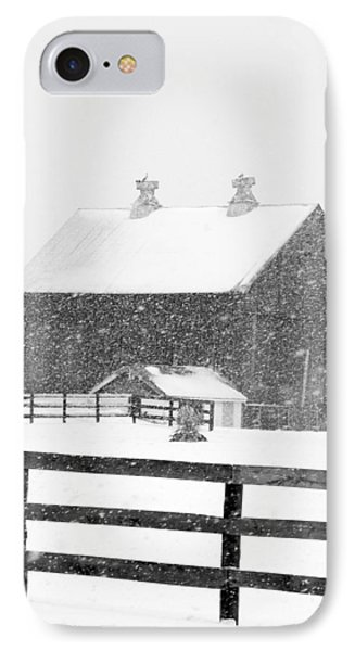 Black And White Photograph Of A Barn Near Cannonsburg During A Snowstorm IPhone Case by Randall Nyhof