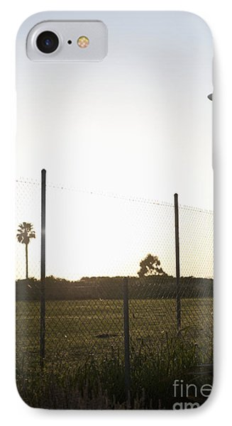 Blimp Flying Over Sports Field Phone Case by Sam Bloomberg-rissman