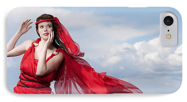 Blown Away Woman In Red Series Phone Case by Cindy Singleton