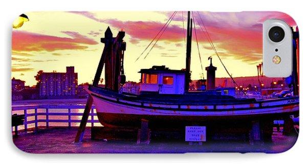 Boat On Santa Cruz Wharf Phone Case by Garnett  Jaeger