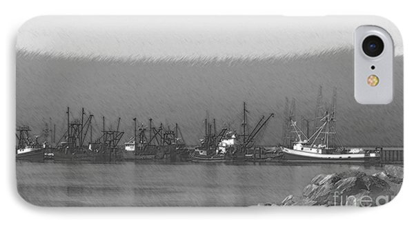 Boats In Harbor Charcoal Phone Case by Chalet Roome-Rigdon