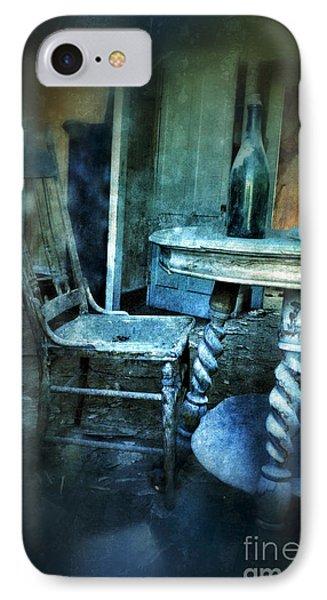 Bottle On Table In Abandoned House Phone Case by Jill Battaglia