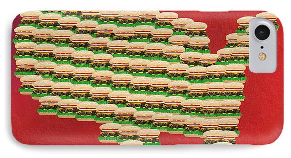 Burger Town Usa Map Red Phone Case by Andee Design