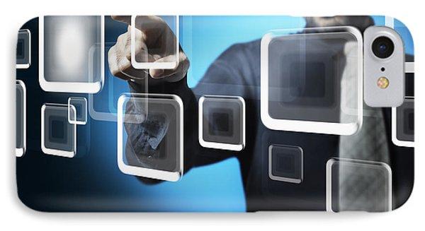 Businessman Touching Screen Button IPhone Case by Setsiri Silapasuwanchai